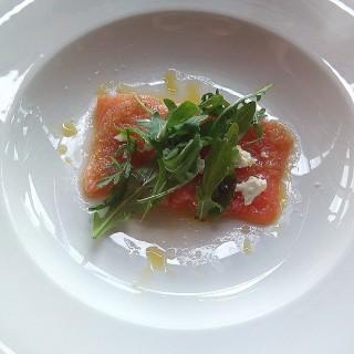 Sashimi of salmon, ginger, eschalot and goats feta - Thamrin's Salt Grill (Thamrin)|Jakarta