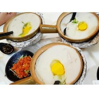 pork porridge with egg yolk - Mangga Besar's Kamseng Restaurant (Mangga Besar)|Jakarta