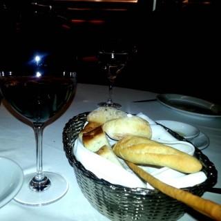 Bread with a glass of red wine -  Club Street / Senso Ristorante & Bar (Club Street) Singapore