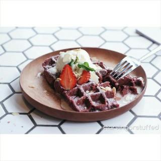 red velvet waffle - Serpong's Bourbon Eatery & Coffee (Serpong)|Jakarta