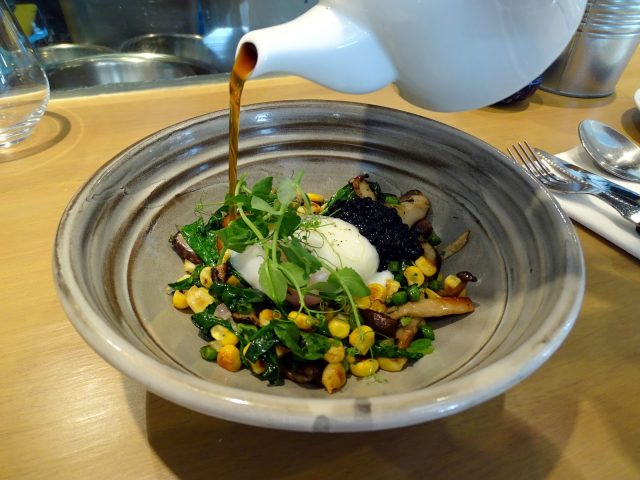 Mushroom consommé, taiyouran onsen egg, sweet corn, baby spinach and ...
